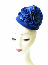 Royal Blue Rose Flower Pillbox Hat Fascinator 1950s Rockabilly Vintage Hair 1202