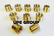 BRASS HEX BUSHING REDUCING NPT THREADS PIPE FITTING 3/8 MALE X 1/4 FEMALE QTY 10