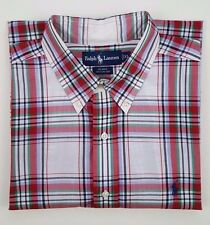 RALPH Lauren BLAKE Shirt XL Mens CHECKED White RED Multicolor SIZE Cotton PONY**