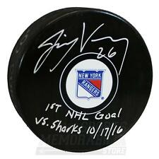 Jimmy Vesey New York Rangers Signed Autographed 1st NHL Goal Inscribed Puck