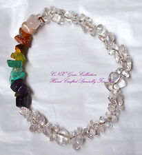 Gemstone Crystal Clear Quartz ChipStone Strechy Chakra Bracelet 10th Anniversary