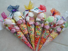 FRESHLY MADE PRE FILLED LARGE XMAS /SWEET CONES/PARTY BAGS/FAVOURS MIXED COLOURS