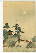 Antique Original CHINESE PAINTING Postcard Hand-Painted Landscape 1910s