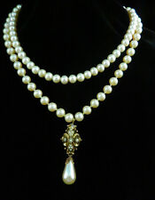 Vintage Romantic 2 Strand Faux PEARL Antique GOLD SEED PEARL DROP NECKLACE