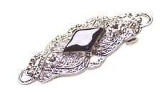 Antique Inspired - Detailed Bow Design & Black Stone Centre Hair Barrette.(Zx82)