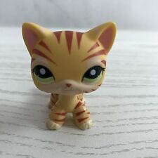#1451 Rare Littlest Pet Shop Yellow Orange Tiger Cat Kitty Green Eyes LPS Toy