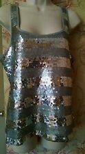 Old Navy Women Medium Silver Grey Sequin Racerback Sleeveless Tank Top Shirt