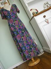 VINTAGE INSPIRED LONG FLOATY FLORAL TEA DRESS SZ M GYPSY/BOHO/HIPPY/FOLK/70'S