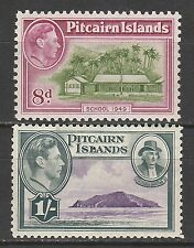 PITCAIRN ISLANDS 1940 KGVI PICTORIAL 8D AND 1/-