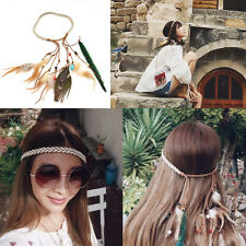 Fashion Women Boho Peacock Feather Headband Hippie Weave Hairband Hair Accessory
