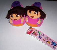 NWT DORA THE EXPLORER SLIPPERS SIZE 11-12 in bag with free stickers