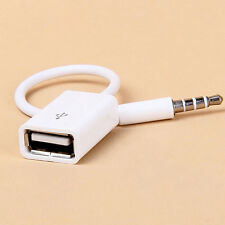 1xWhite 3.5mm Car MP3 Male AUX Audio Plug Jack To USB 2.0 Female Converter Cord