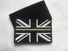 HM COASTGUARD UNION JACK BADGE THIN BLUE/YELLOW LINE