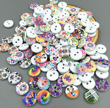 100 Stück Mini runde Vermischung Nähen Holz Knopf/Knöpfe Dekoration 12mm