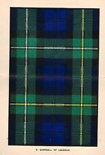 "Johnston's ""Scottish Clans & Tartans"" - ""CAMPBELL of LOUDOUN "" - Chromo - c1890"