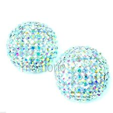 WHITE AB CRYSTAL DISCO semi ball ROUND button studs ear ring-22mm circle large