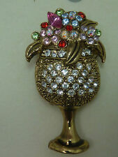RUCINNI SWAROVSKI CRYSTALS FLOWERS METAL BROOCH  or champagne glass