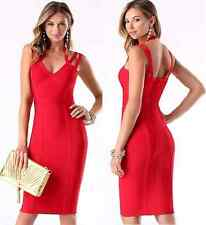 NWT bebe red deep v neck 3 straps bandage club midi sexy top skirt dress XS 0 2
