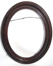 Antique Oval Picture Frame Carved Hard Wood Dark Finish