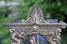 Vintage Brass Chinese Dragon/Winged Sphynx Picture Frame