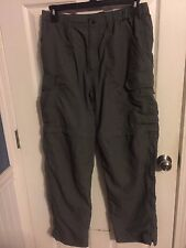 REI Olive Nylon Hiking Cargo Pants 7 Pockets Men's Large Inseam 31""