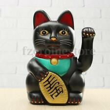"Chinese Lucky Waving Black Cat Moving Arm Fortune Feng Shui 8"" Battery Powered"