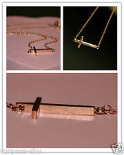 Fashion Lady's Horizontal Sideways Cross ROSE gold plated Pendant Necklace U