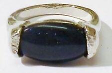 bague bijou vintage couleur argent pierre longue essentielle bleu pailletté T 49