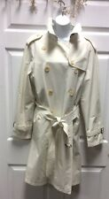 Authentic Womens BURBERRY Double Breasted Trench Coat Ivory Size XL 14 16