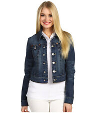 $198 NEW TRUE RELIGION Jeans Womens US Medium Emily Dark Blue Denim Jacket Coat