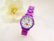 Kids Girls Hello Kitty Purple Wrist Watch Analog Silicone Strap Water Proof