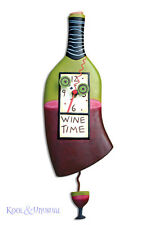 "Elegant ""Wine Time"" Wine Bottle Designer Wall Clock by Allen Designs"
