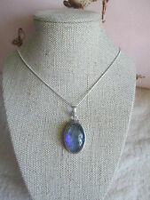 ~ Natural Firey Quartz Gemstone Pendant & Silver Plated Chain ~ Necklace ~