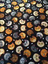 Wild Cats on Black Cat & Mouse toss cotton Fabric per  yard RJR Dan Morris
