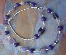 Purple Fluorite and Mountain Jade Handmade Short Necklace with Crystal Accents