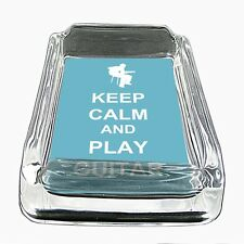 Glass Square Ashtray Keep Calm and Play Guitar Design-011