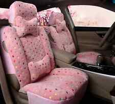 Lady Cute Pink Fuzzy Wool Car Seat Covers Front Rear Covers Full Set