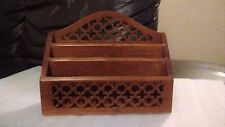 VINTAGE WOODEN INDIAN LETTER / STATIONERY RACK