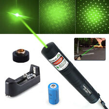 MILITARY 532nm 10Miles Green Laser Pointer Lazer Pen Beam Light +battery+Charger
