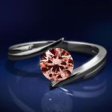 0.35 Carat Round HHT Pink Diamond Solitaire for Engagement Ring in 14K WG ASAAR