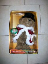 Animated Merry Brite Music Box Bear