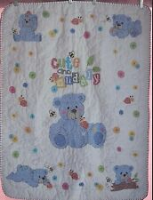 """Handmade Cross Stitch Baby Boy / Girl Quilt """"Cute & Cuddly"""" FINISHED Shower Gift"""