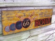 66 BOWL - Route 66 Bowling Alley Hand Painted Wooden Sign