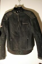 UGG WOMEN MURRAY BLACK LEATHER SHEARLING BIKERS JACKET COAT , MEDIUM