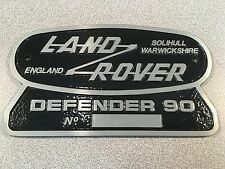 Land Rover Defender 90 Original Badge Solihull Warwickshire Rear Plate England