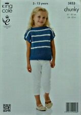 KNITTING PATTERN Childrens Easy Knit Sleeveless Boat Neck Stripe Top Chunky 3853