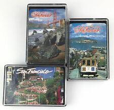 Vtg NOS San Francisco Playing Cards Golden Gate Bridge Cable Car Lombard St 3 pk