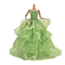 """1 pcs 27cm/10.63"""" Embroidery Green Wedding Gown Dress For Barbies Dolls Funny"""