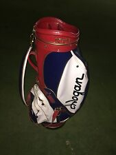 """AMF Vintage Ben Hogan 10"""" Staff Golf Bag with Rain Cover Red White Blue"""