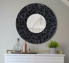 Round Abstract Wall Mirror, Black & Silver Modern Metal Wall Art - Jon Allen